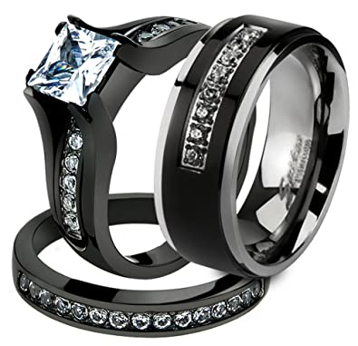 her his 3 pc black stainless steel engagement wedding ring set titanium band size - Black Wedding Rings Sets
