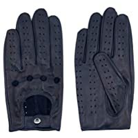 Harssidanzar Mens Lambskin Leather Driving Gloves GM026