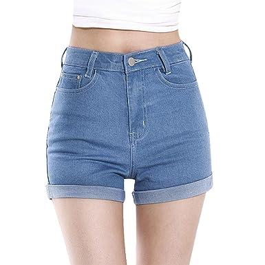 053ceef75e Vintage Femmes Taille Haute Sertissage Short en Jean Shorts Jeans Hot Pants  (EU XS,