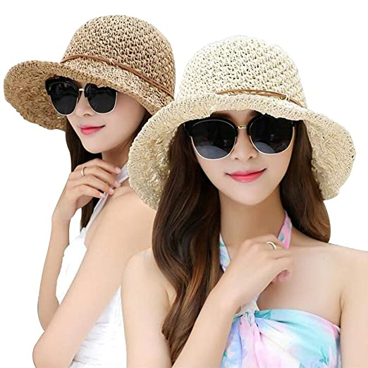 7a1e554bc4043 Women Floppy Hat Hollow Straw Hat Wide Beige Brim Beach Hat Sun Hat can be  Folded