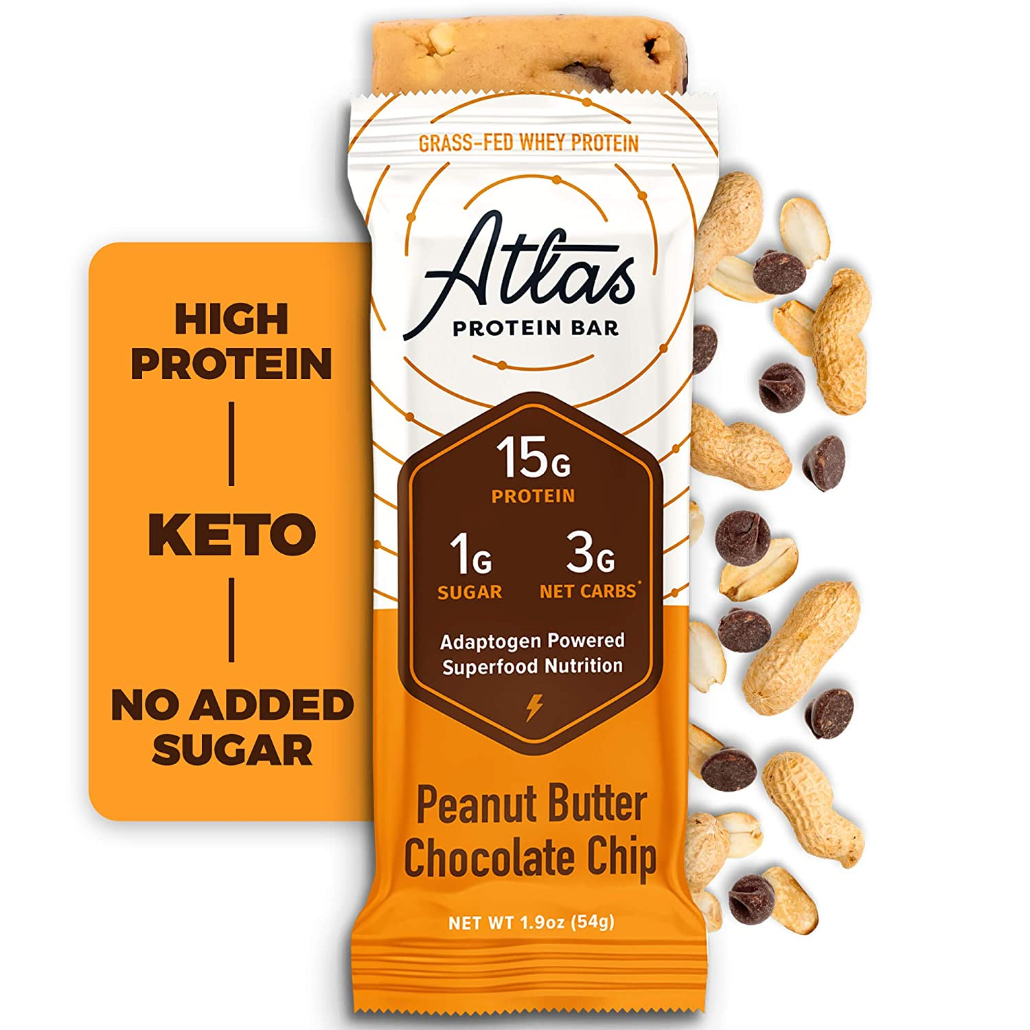 Atlas Protein Bar, Meal Replacement, Keto-Friendly Snack, Grass-Fed Whey, Organic Ashwagandha, Low Sugar, Low Carb, Gluten Free, 10 pack, Peanut Butter Chocolate Chip