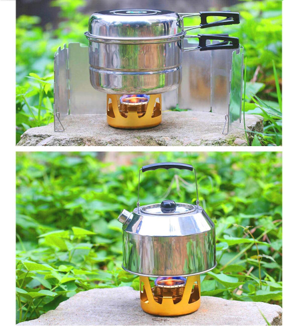 senderismo mochilero ShineTool Mini quemador de alcohol port/átil para campamento cocina temperatura ajustable para acampadas picnic
