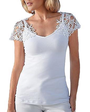 Auxo Jersey Mujer T Shirt Mangas Cortas con Encajes Tops Blusas Blanca Escote Veranos Blanco ES 44/Asian 2XL: Amazon.es: Ropa y accesorios