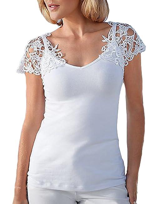 Auxo Jersey Mujer T Shirt Mangas Cortas con Encajes Tops Blusas Blanca Escote Veranos Blanco ES