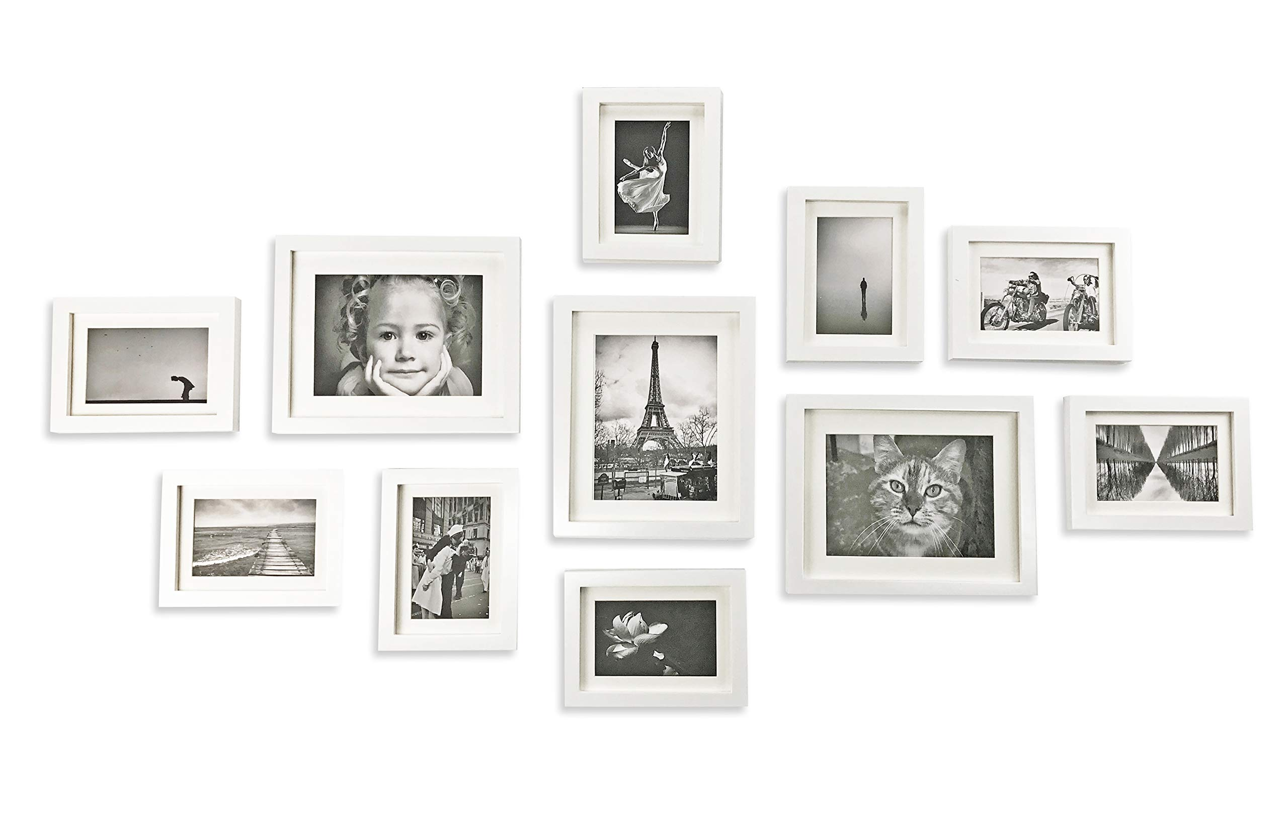 Ray & Chow White Gallery Wall Picture Frames Set- 11 Frames- Solid Wood- Glass Window-Made to Display 8x10 5x7 Pictures Without Mat or 6x8 4x6 Pictures with Mat - Hanging Hardware Included by Ray & Chow