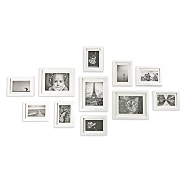 Ray & Chow White Photo Picture Gallery Wall Frame Set - Solid Wood- 11 Frames - Glass Window- with White Picture Mats - Frame Width 2cm