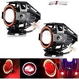 Allextreme U7 Led Fog Light Bike Driving Drl Fog Light Spotlight, High/Low Beam, Flashing-With Red Angel Eyes Light Ring (Pack Of 2),Red