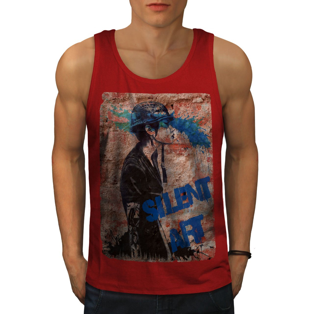 Wellcoda Silent Art Trendy Mens Tank Top, Punk Fit Lifestyle Sports Shirt