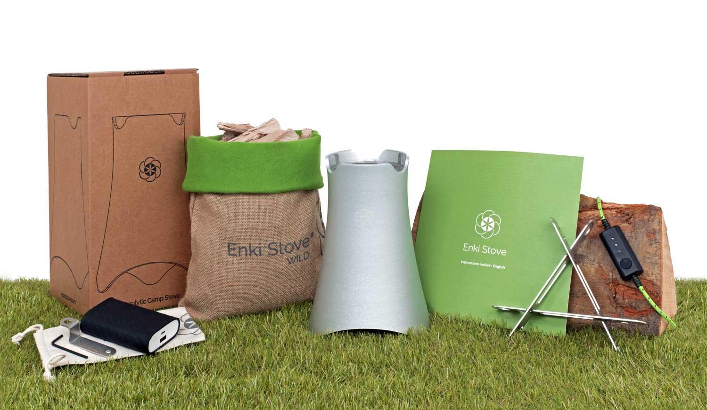 ENKI Stove Wild Kit, Estufa a leña/pellet de jardín Fabricado en Italia, barbacoa portátil, punto de fuego de diseño, acampada, bicicleta.