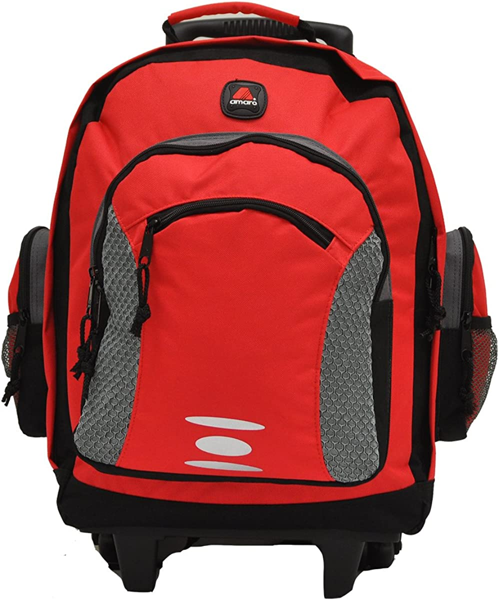 Amaro Academy Rolling Backpack 17 Inch Load For Kids Basic Wheeled Backpack