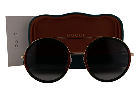 b8d9801e5fe Gucci GG0061S Sunglasses Green Red Gold w Gray Gradient Lens 003 GG 0061S   Amazon.co.uk  Clothing