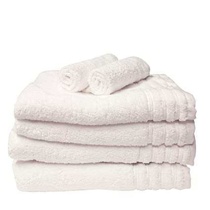 Just Contempo Juego de toallas de algodón egipcio (6 piezas), color blanco