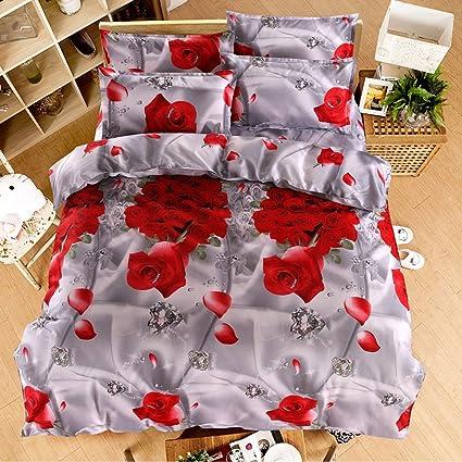 Lenzuola Matrimoniali In 3d.3d Fiore Rosso Completo Lenzuola Copripiumino Per Letto Matrimoniale 4pcs
