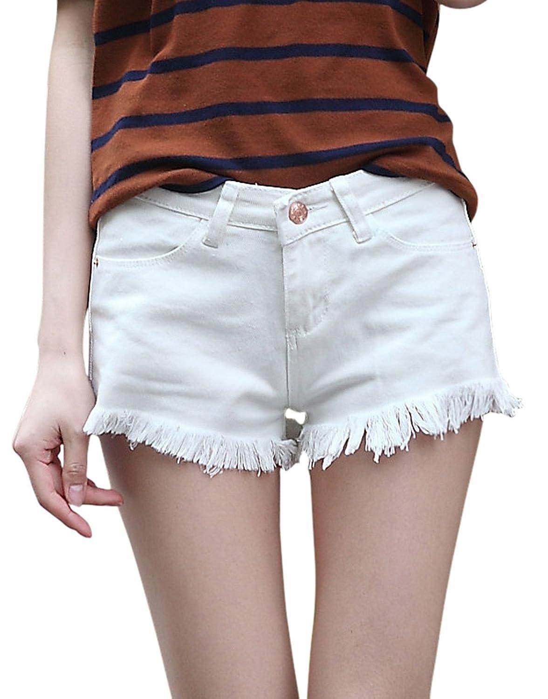 Chouyatou Women's Perfect Fit Tassel Design Denim Shorts