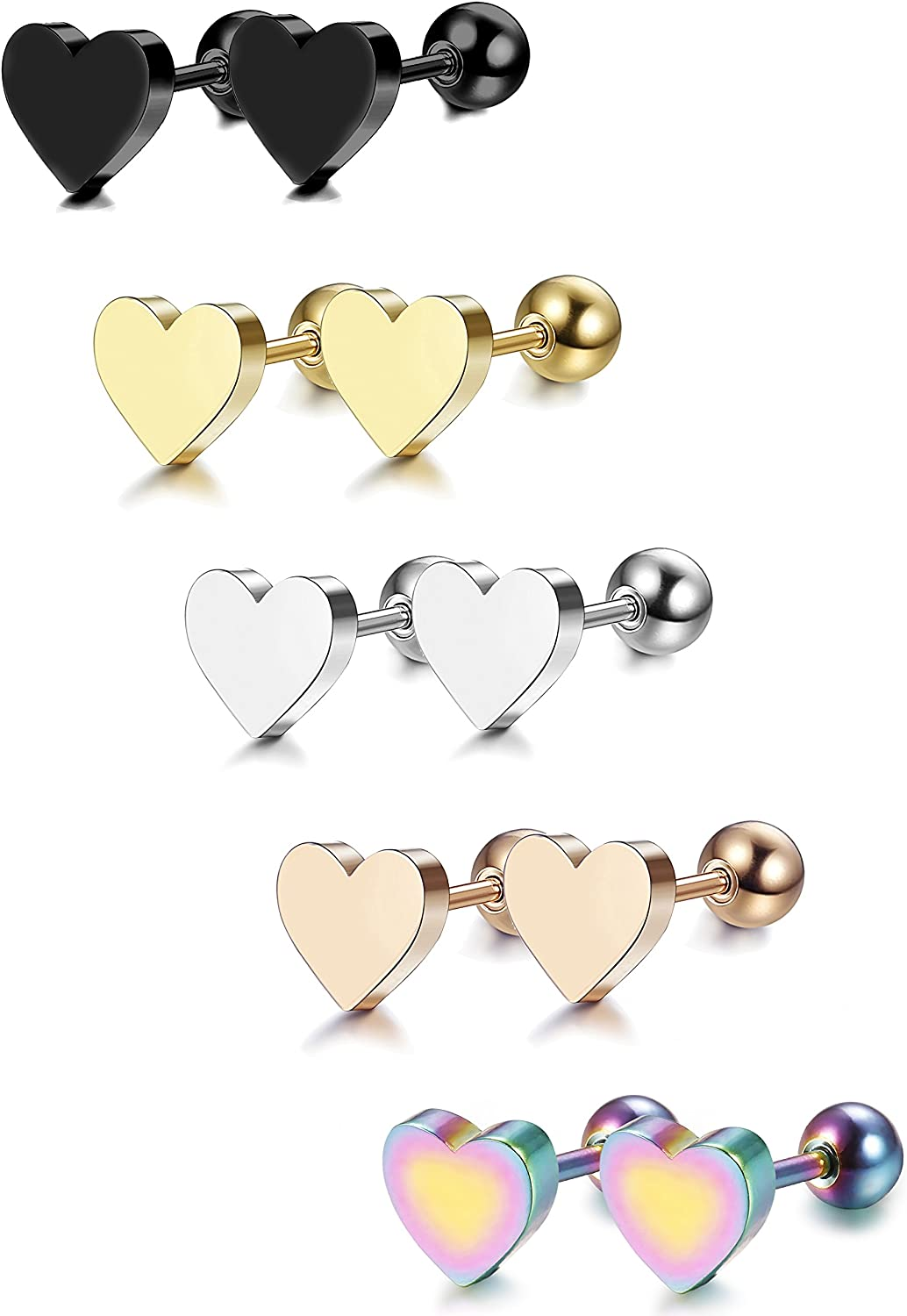 LOYALLOOK 5-6 Pairs Stainless Steel Heart Stud Earrings Barbell Piercing Studs for Women Men