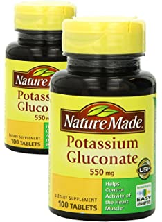 Nature Made Potassium Gluconate 550mg, 100 tablets (Pack of 2)