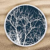 ARIGHTEX Tree of Life Painting Round Beach Towels Navy Blue and White Beach Towel Camping Picnic Mat Circle Tapestry Blanket