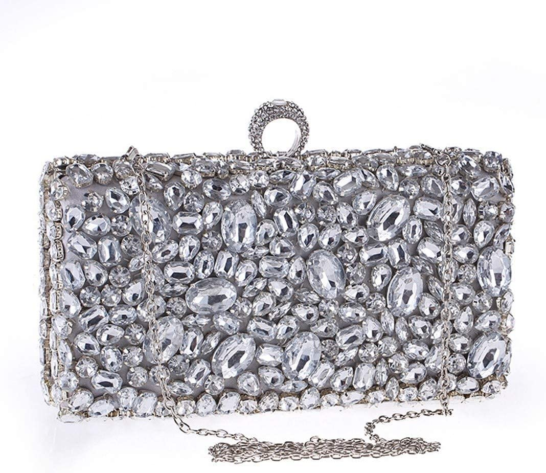 BAOLH Women's Acrylic Envelope Clutch Bag Diamond Evening Bag Shoulder Bag Envelope Clutch Bag Banquet Handbag For Parties and Wedding Occasions Fashion (Color : Silver) Silver