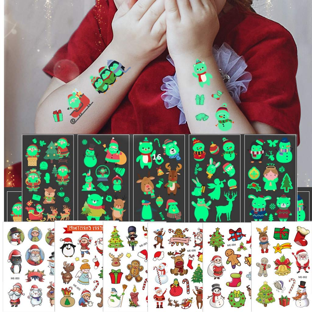 Christmas Temporary Tattoos for Kids, BUVE Glowing Kid Face Tattoos Party Favors Body Sticker for Boys Girls, 16 Sheet