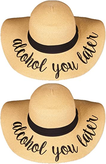 Hand Embroidered Tan Summer Vacation Beach Straw Floppy Hat My Happy Place