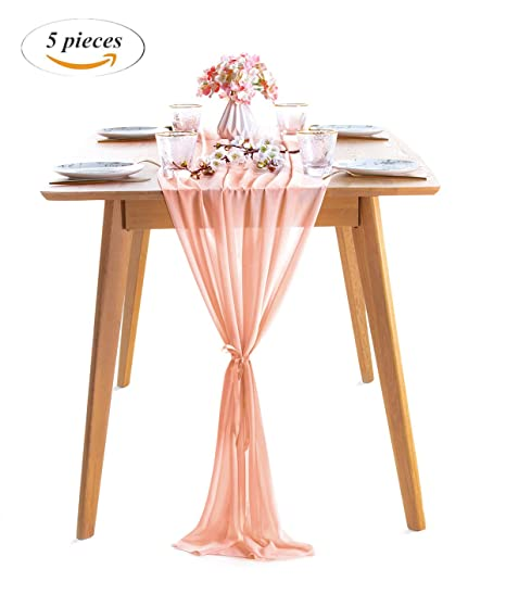 Amazon Com Soardream 5 Pieces Of Light Peach Chiffon Table