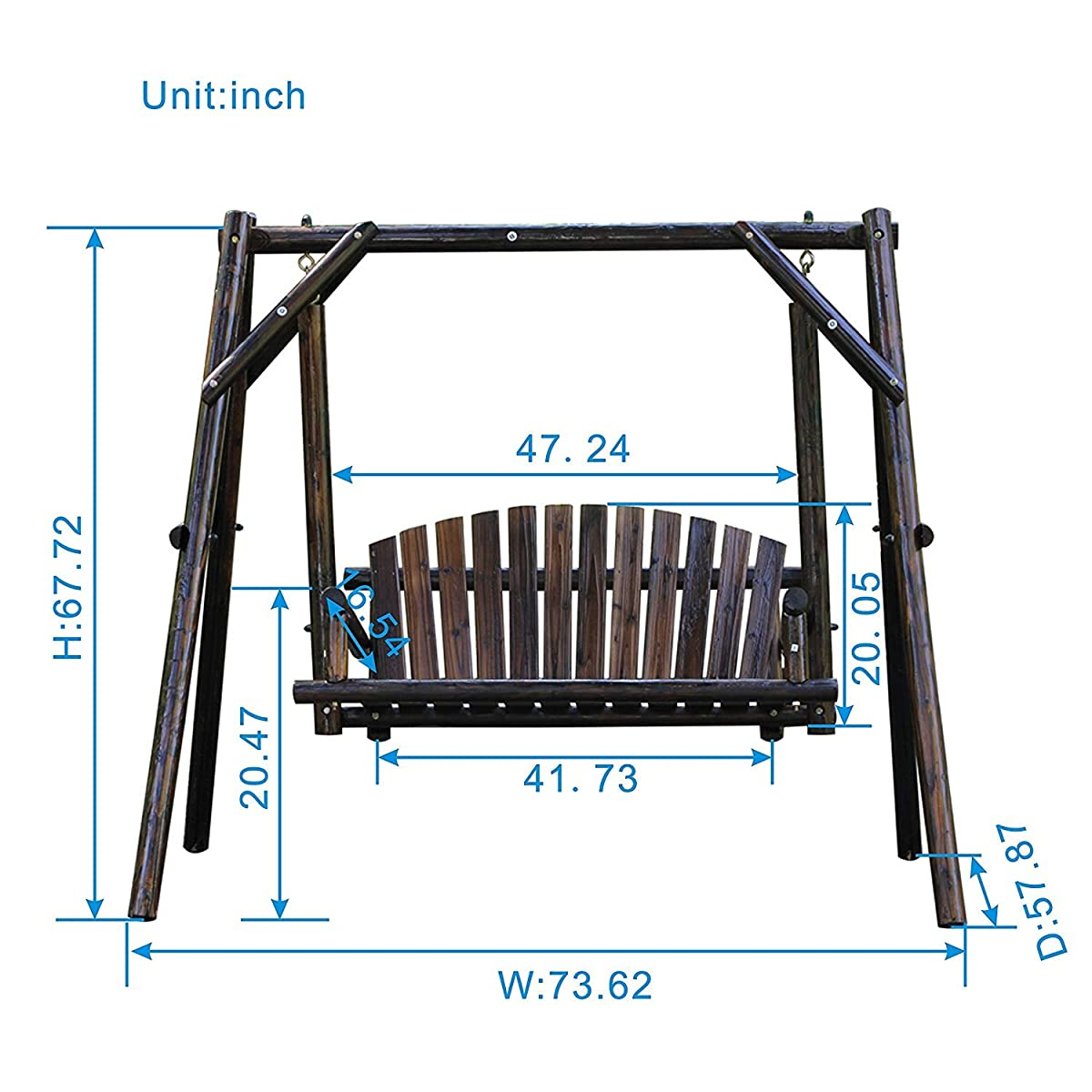 VH FURNITURE Wooden Garden Swing With Large Space For Outdoor Furniture Natural Style