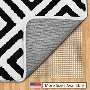 Gorilla Grip Original Area Rug Gripper Pad, 4x4 Round, Made in USA, for Hard Floors, Pads Available in Many Sizes, Provides Protection and Cushion for Area Rugs and Floors
