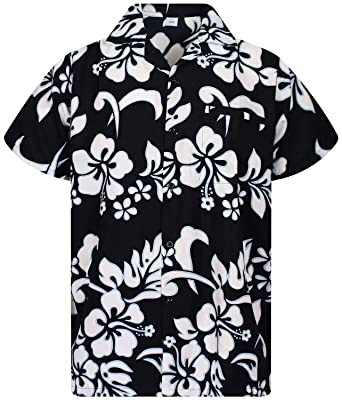 0c474b5e V.H.O. Funky Hawaiian Shirt Men Short-Sleeve Front-Pocket Hibiscus Multiple  Colors