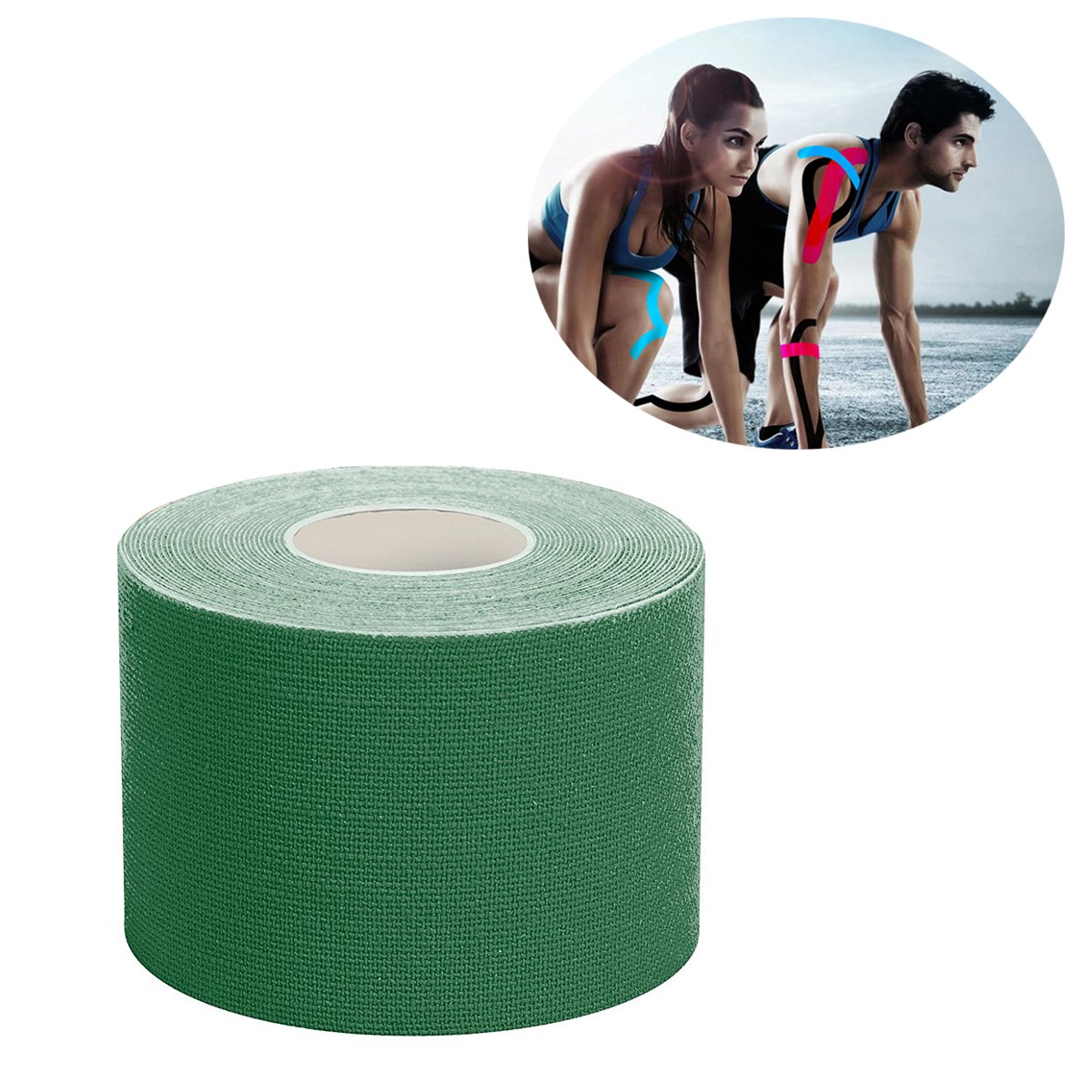 Kinesiology Tape with Free Illustrated E-Guide - 16ft Uncut Roll - Reduce Pain and Injury Recovery - 24/7 Waterproof Therapeutic Aid (Dark Green, XL)