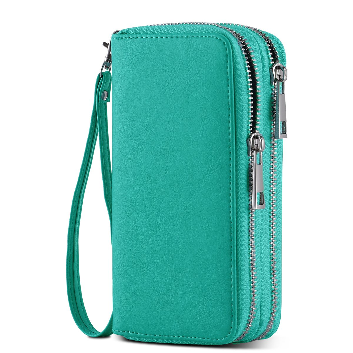 HAWEE Cellphone Wallet Dual Zipper Wristlet Purse with Credit Card Case//Coin Pouch//Smart Phone Pocket Soft Leather for Women or Lady Honor Peony