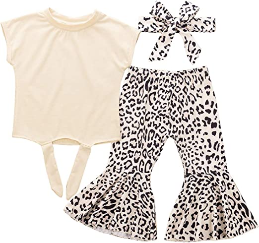 US Toddler Baby Girl Clothes Ruffle Tops Dress+Leopard Leggings Pants Outfit Set
