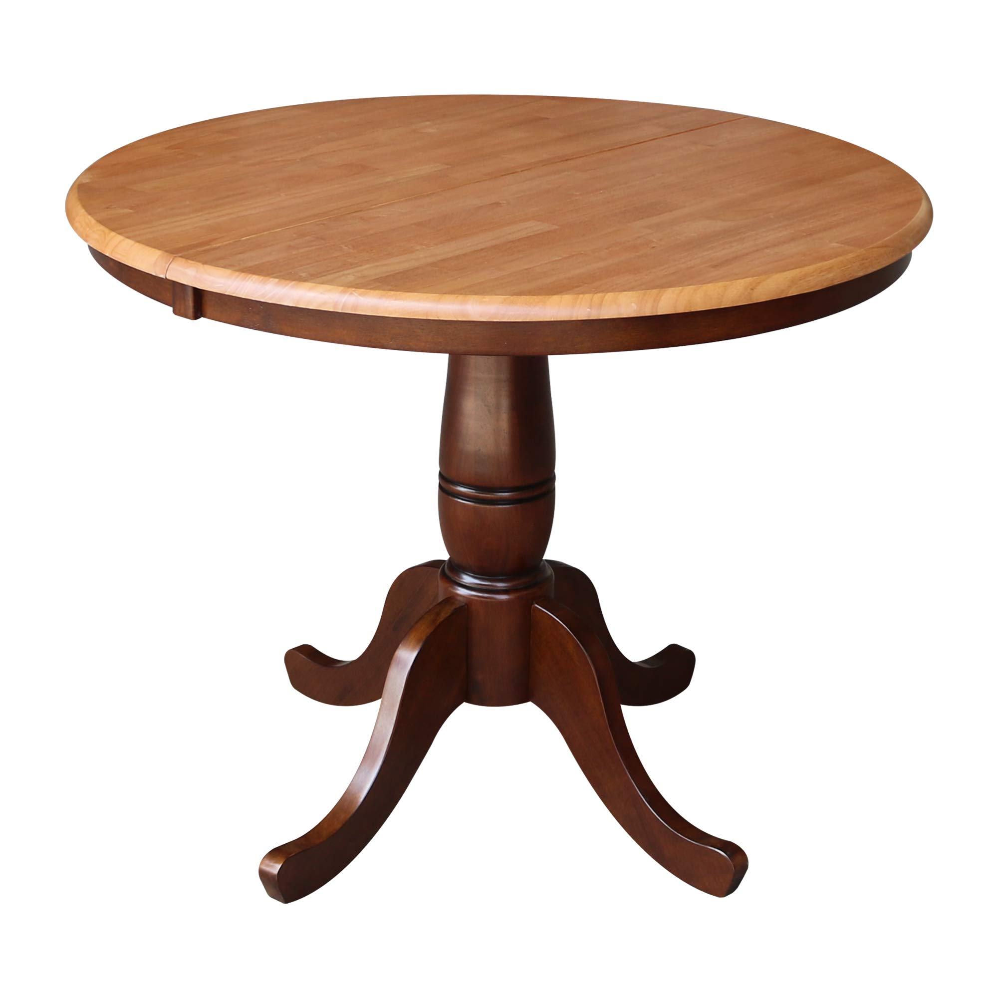 International Concepts 36-Inch Round Top Pedestal Table with 12-Inch Leaf, 30-Inch Standard Table Height, Cinnamon/Espresso by International Concepts