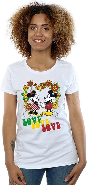 Disney Mujer Mickey and Minnie Mouse Hippie Love Camiseta: Amazon.es: Ropa y accesorios