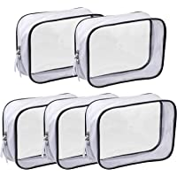 5 Pack Clear PVC Zippered Toiletry Carry Pouch Portable Cosmetic Makeup Bag for Vacation, Bathroom and Organizing