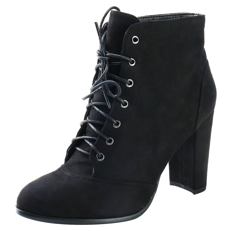 Alexis Leroy Women's Suede Block Heel Lace up Boots Black 37 M EU/6-6.5 B(M) US