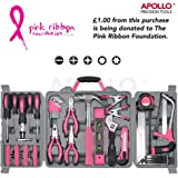Apollo 71 Piece Pink Household Tool Kit including Most Reached for Hand Tools - in Storage Box