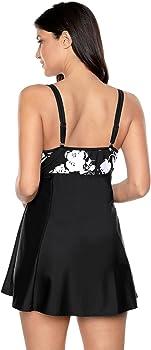 92a3fc0b3ee2f Women s Plus Size Swimwear Skirted Swimsuit Printed One Piece Swimdress