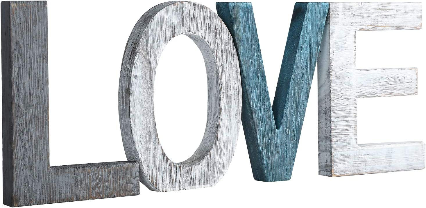 Rustic Wood Love Sign - Freestanding Decorative Cutout Word Table Decor Love Centerpiece for Home Decor - Multicolored, 5.9in x 16.1in.