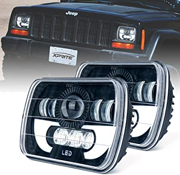 Pair 5x7 6x7 High Low Beam Led Headlights for Jeep Wrangler YJ Cherokee XJ H6054 H5054 H6054LL 69822 6052 6053 with Angel Eyes DRL