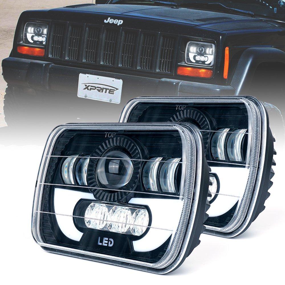 Xprite 5x7' Led Headlight w/DRL 7100 Evolution CREE LED Square Headlights Conversion H6054 H5054 H6054LL 69822 6052 6053 Jeep Wrangler YJ Cherokee XJ Trucks 4X4 Offroad - 2PCs HL-5X7-G2-2PC