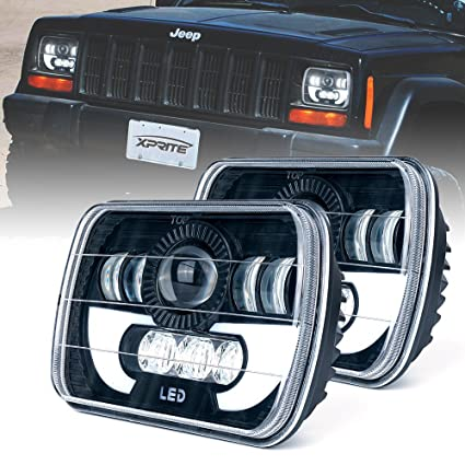 Jeep Information And Evolution Offroaders Com >> Xprite 5x7 Led Headlight W Drl 7100 Evolution Cree Led Square Headlights Conversion H6054 H5054 H6054ll 69822 6052 6053 Jeep Wrangler Yj Cherokee Xj