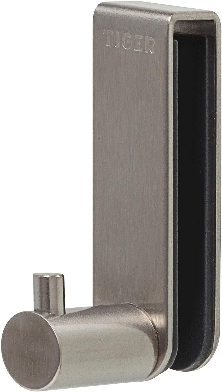 Tiger Gancho Rhino para el Panel de Ducha de Vidrio 6-8 mm, Acero Inoxidable Cepillado