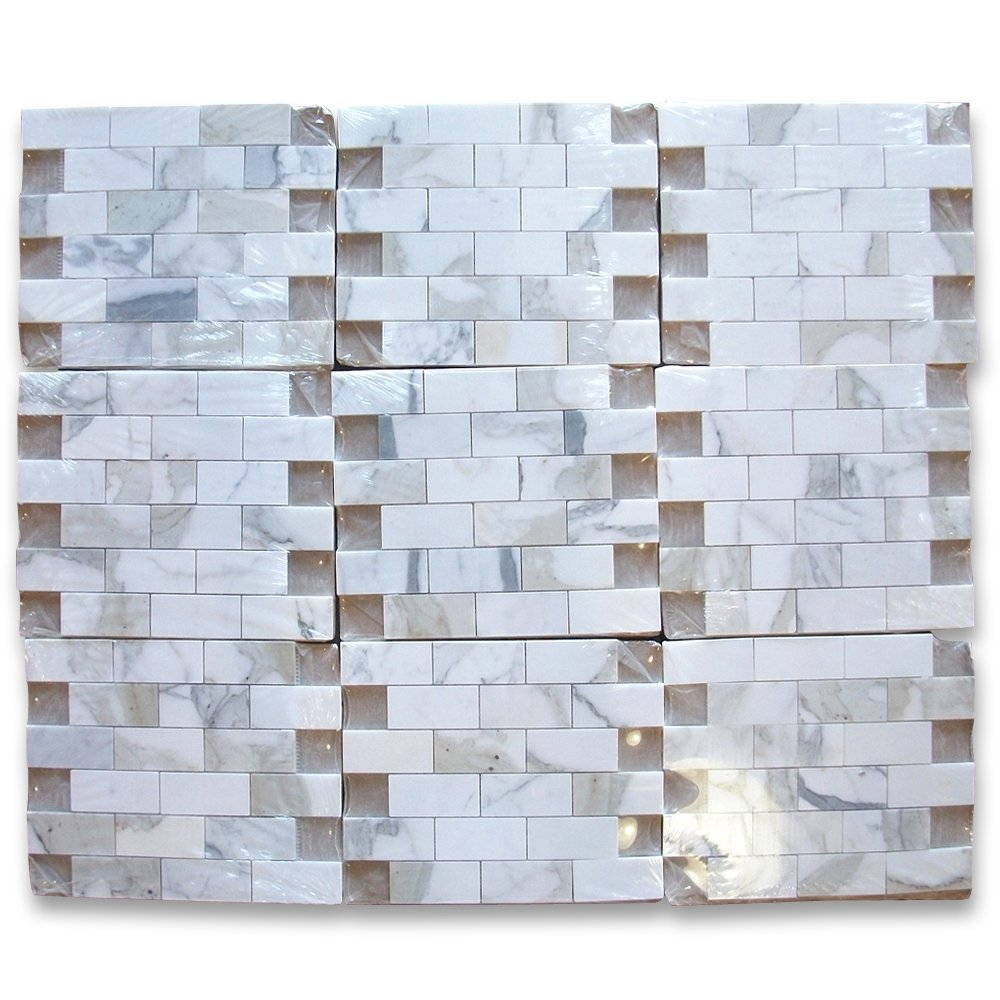 Calacatta gold italian calcutta marble subway brick mosaic tile 2 calacatta gold italian calcutta marble subway brick mosaic tile 2 x 4 polished amazon dailygadgetfo Images