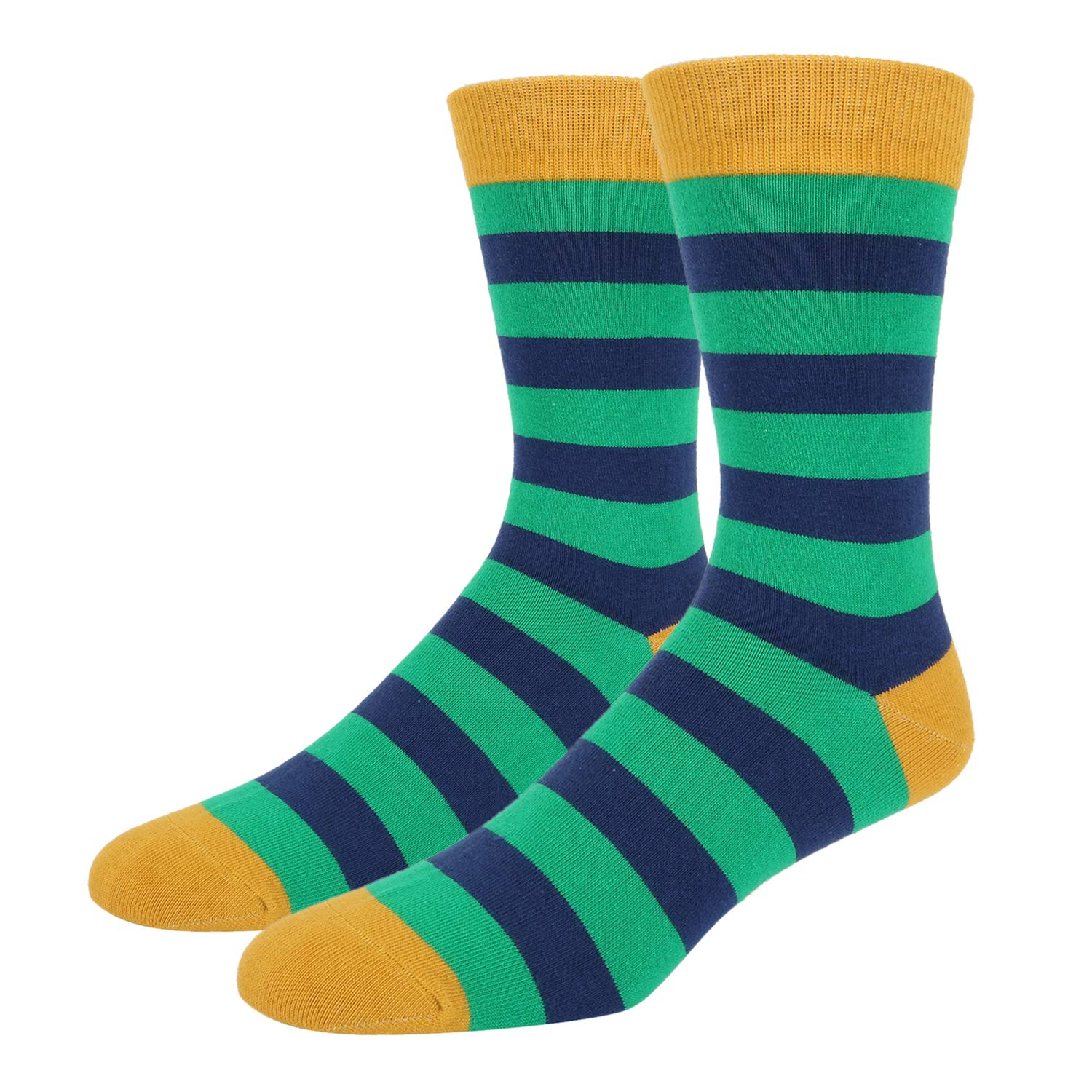 Happypop 5 Pair Mens Designer Striped Socks Cotton Rich Colorful Patterned Casual Dress Socks