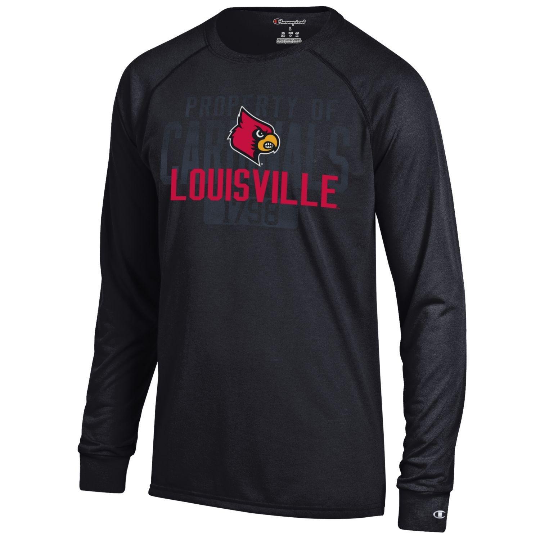 Champion NCAA Men's Long Sleeve Lightweight T-shirt Officially Licensed 100% Cotton Tagless Tee Louisville Cardinals XX-Large