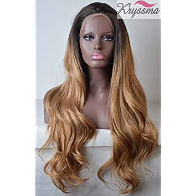 K'ryssma Ombre Blonde Synthetic Lace Front Wigs Dark Roots Long Wavy Heat Resistant 2 TonesOmbre Synthetic Wig for Women 24 inches