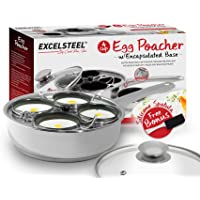 ExcelSteel 521 Non Stick Easy Use Rust Resistant Home Kitchen Breakfast Brunch Induction Cooktop Egg Poacher, 4 Cups, 18/10 Stainless Steel