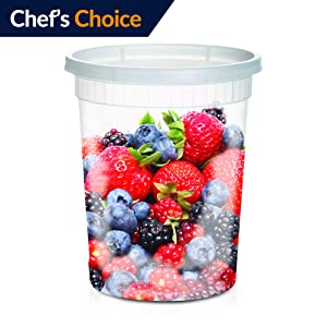 Large Soup Storage Containers   24 Large 32oz Leakproof Clear Plastic Storage Containers with Lids  Microwavable, Freezer & Dishwasher Safe BPA FREE