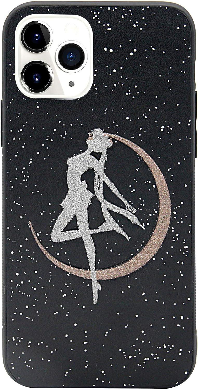MC Fashion iPhone 11 Case, Cute 3D Glitter Cartoon Sailor Moon Crystal PU Leather Skin Black Bumper Full-Body Hard PC Case for Apple iPhone 11 6.1 inch 2019