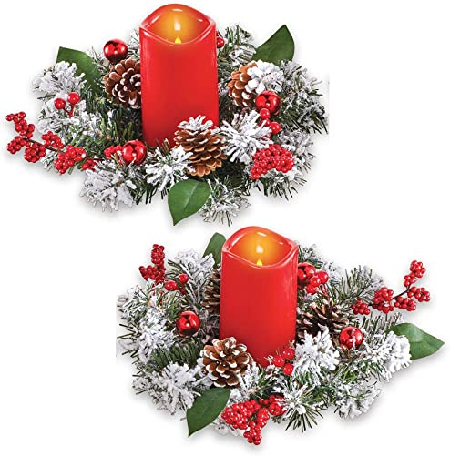 Frosted Pine Candle Rings and Red Flameless Candles with Pinecones, Winter Holiday Centerpiece and Tabletop Decorations, 2 Pc